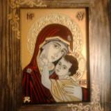 Icoana pe sticla -  Maica Domnului cu pruncul Iisus