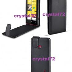 Livrare gratuita! Husa toc flip pentru Nokia Lumia 520 neagra, inchidere magnetica + laveta microfibra + stylus, Negru
