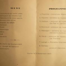 Meniu si Program Artistic Varna 1933 -restaurant