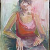 Femeie stand, acuarela semnata Cristina Tomescu - Pictor roman