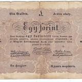 "Bancnota Straine - Transilvania, Ungaria, 1 FORINT ""UN FLORINT"" 1848-1849, legeda si in romana cu litere cirilice, semnatura lui Kossuth, FOARTE RARA!!!"