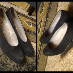 Pantofi dama piele intoarsa - Pantof dama Gabor, Marime: 39.5, Culoare: Negru