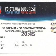 Bilet meci - Bilet de meci-FC Steaua Bucuresti-FC Spartak Trnava 2 august 2012