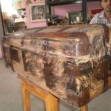 Mobilier - Cufar lemn franta piele porc mistret 75 cm lungime franta