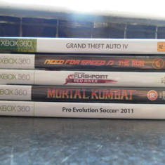 5 JOCURI X BOX 360- GTA 4, NEED FOR SPEED THE RUN, OPERATION FLASHPOINT RED RIVER, MORTAL KOMBAT, PES 2011 PRET 250 RON PT TOT PACHETUL