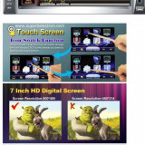 DVD player with GPS, audio Radio stereo, FM, USB/SD, Bluetooth/TV, 800*480 pixel, touch screen, Harta online, Redare audio, Mesaje trafic (TMC), Touch-screen display, Rezistent la apa