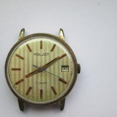 Ceas Barbatesc Poljot - Ceas Poljot cu calendar, placat cu aur - functional