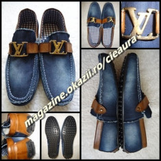 MOCASINI PANTOFI SPORT ELEGANTI BARBATI LOUIS VUITTON BLUGI PIELE NATURALA MARO - Pantofi barbati Louis Vuitton, Marime: 42, 43, 44, Culoare: Albastru, Textil