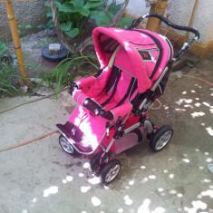 CARUCIOR BEBE - Carucior copii Landou Ares, 0-6 luni, Roz, Maner reversibil