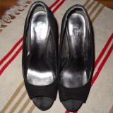 Pantofi Candie's Yunnis Black Peep - Pantofi dama, Marime: 39, Culoare: Negru, Negru