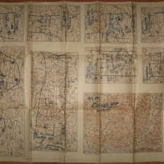 REGATUL ROMANIEI.harta militara cu aplicatii in zona Targu Mures, Reghin, Ludus, Sangiorgiu, Viisoara, 1934