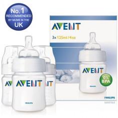 Set 3 biberoane Philips Avent Airflex 125 ml cu tetine silicon nou-nascuti, 0-6 luni, Fara BPA