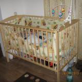Vand patut din lemn cu saltea si aparatori - Patut lemn pentru bebelusi, Altele, 120x60cm, Crem