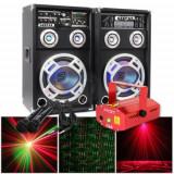 SISTEM 2 BOXE ACTIVE/AMPLFICATE CU MIXER INCLUS, MP3 PLAYER STICK SI CARD, ORGA LUMINI DUPA SUNET, RADIO+2 MICROFOANE BONUS+LASER PROIECTOR DISCO.