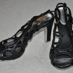 Sandale dama - Noi! Sandale de piele negre, superbe, toc inalt, Pepe Jeans, femei marimea 40