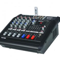 MIXER AUDIO PROFESIONAL AMPLIFICAT, EGALIZATOR, LCD, EFECTE DSP, MP3 PLAYER INCLUS.