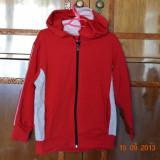 Haine Copii 7 - 9 ani, Trening, Fete - Trening rosu cu insertii gri
