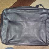 Geanta laptop Alta, Geanta de umar, 17 inch, Piele, Negru