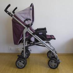 Carucior Chicco Trio Scoop + landou + scoica transport auto - Carucior copii 3 in 1 Chicco, 0-6 luni, Pliabil, Violet, Maner reversibil