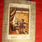 Colita Pictura Vermeer 1968 Ajman, stampilat - Timbre straine
