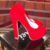 Pantofi dama, Marime: 36, Rosu - Pantofi cu platforma dama superbi