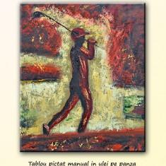 Jucator de golf (2) - pictura ulei 60X50cm, LIVRARE GRATUITA 24-48h