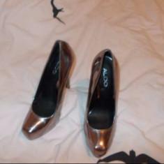PANTOFI PIELE NOI ALDO NR 37 - Pantof dama Aldo, Culoare: Argintiu, Auriu