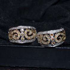 UNICAT! CERCEI DE COLECTIE DIN AUR ALB SI GALBEN DE 18K CU 86 DE DIAMANTE ! - Cercei cu diamante