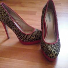 Pantofi cu platforma - Pantof dama, Marime: 37, Culoare: Rosu, Rosu