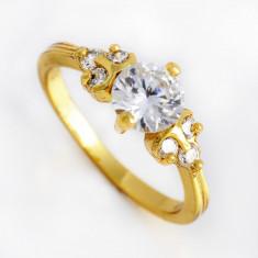 Inel aur filat 9k Brilliant, cristale zirconiu, marime 7, 75(US) -cod 669 - Inel diamant, Culoare: Galben