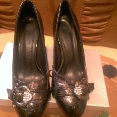 Pantofi dama, Marime: 36, Negru - Pantofi casual cu toc, model deosebit, comozi