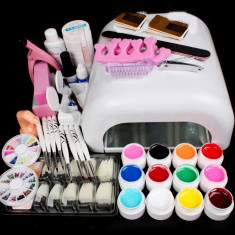 Kit Unghii false Fraulein38 Gel uv Set Manichiura, Lampa 36w, 12 GELURI COLOR