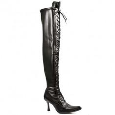 Cizme New Rock goth Malicia negre din piele elastica - Cizme dama, Marime: 40, Culoare: Negru, Negru