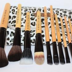 Trusa machiaj makeup 12 pensule machiaj + borseta depozitare leopard Fraulein38 - Trusa make up
