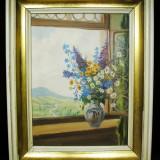 SUPERB TABLOU SEMNAT - PICTURA IN ULEI PE PANZA - Pictor strain, Flori, Realism