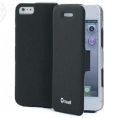 Husa Muvit slim pentru Iphone 5 - Husa Telefon Apple, Negru, Piele, Cu clapeta