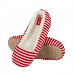 Papuci de casa 40656 - dungi rosu - Papuci dama, Marime: Alta, Culoare: Multicolor