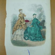 Revista moda - Moda costum rochie palarie umbrela evantai gravura color La mode illustree Paris 1868