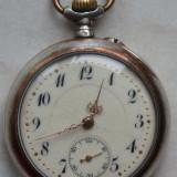 Ceas de buzunar Remontoir Ancre, elvetian, din argint, 2 capace, 10 rubine - Ceas de buzunar vechi