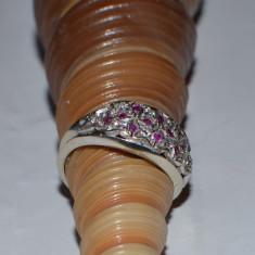 INEL DIN AUR ALB CU RUBINE [CRUCIULITE] SI DIAMANTE - Inel diamant, Carataj aur: 18k, 46 - 56