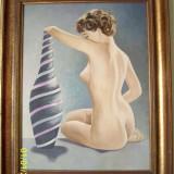Tablou - Nud superb semnat JJ Visser anii 60-70 ulei pe carton