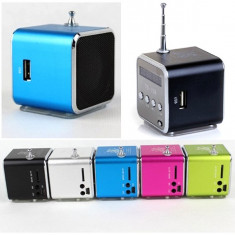 Aparat radio - Mini Boxa Cub cu Radio FM si Mp3 Player neagra