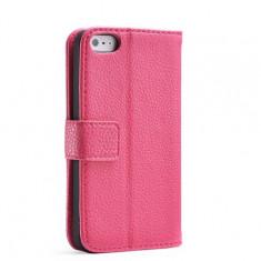 Husa / toc protectie piele iPhone 5, 5s lux, tip flip cover portofel, roz - Husa Telefon Apple, Piele Ecologica