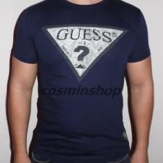 Tricou barbati Guess, Maneca scurta, Bumbac - Tricou GUESS Model NOU de Sezon - Alb / Bleumarin !!!