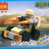Jocuri Seturi constructie - Masina de armata tip lego, 35 piese, jucarie constructiva, Cogo 14600-4