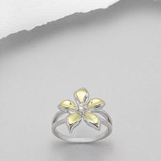 Inel argint - Idee cadou Valentine's Day: Inel din argint 925 floare cu piatra pretioasa de zirconia, placat cu aur