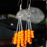 Cercei handmade orange - Cercei Fashion