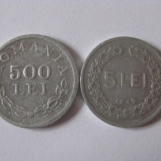 Monede Romania - 500 LEI 1946+5 LEI 1949