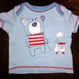 Haine Copii 0 - 6 luni, Tricouri - Tricou albastru cu urs, marca George, baieti 0-3 luni