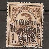 "Timbre Romania - SD Romania 1915 LP VI/4- Carol I, supratipar TIMBRU DE AJUTOR, 1 Leu gravate, un timbru, PERFIN ""BCR"""